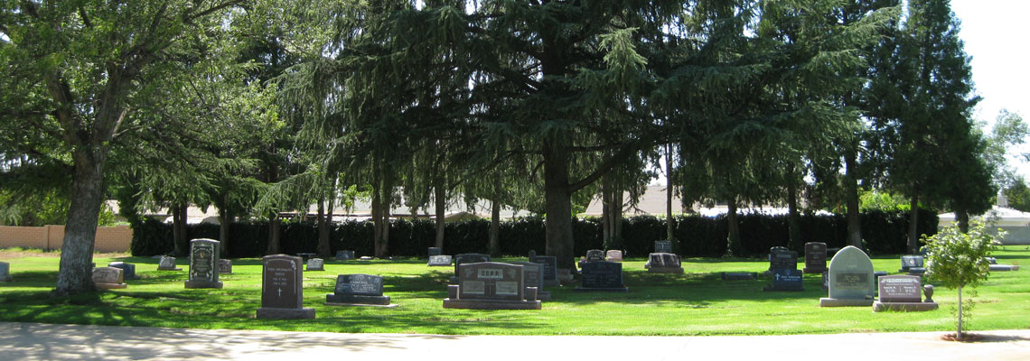 Picture of Grave Markers at Mountain View Cemetery.
